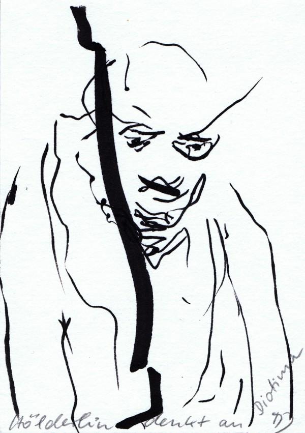 """Marianne Jantze, """"Hölderlin denkt an Diotima"""", 2013, Marker auf Papier, 40 x 30 cm."""