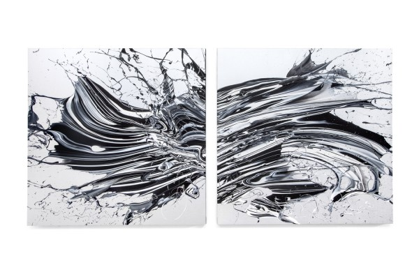"Katrin Fridriks: ""Speed of Light"", High Frequency Diptych, 2015, Acryl auf Leinwand, 270 x 130 x 5 cm, Courtesy of Circle Culture Gallery, Foto Fridriks Workshop"