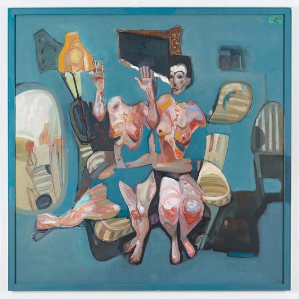"""Tesfaye Geleta Urgessa, """"Unguided Fate 1"""", Öl auf Leinwand, 180 x 180 cm, 2014, GersonHöger Galerie"""