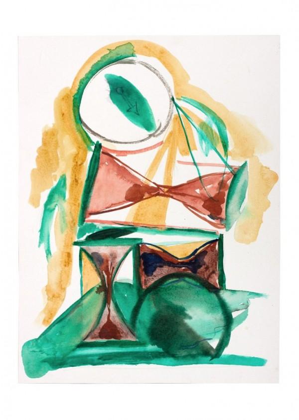 Micha Patiniott, Ohne Titel (Hourglasses), 2016, Aquarell und Gouache auf Papier, 31×41 cm, © Galerie Sturm