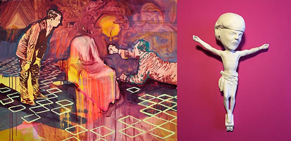 Links: Tina Bechert, Scheinwelt, 2016. Rechts: Nils Kasiske, Untitled (Merkel) 1, Courtesy Galerie Gerken.
