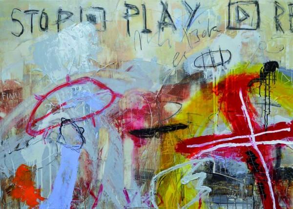 """Tobimann: """"Play rewind"""", Acryl und Ölkreide auf Leinwand, 2015, 1 x 1,40 m, Galerie 7 Türen"""