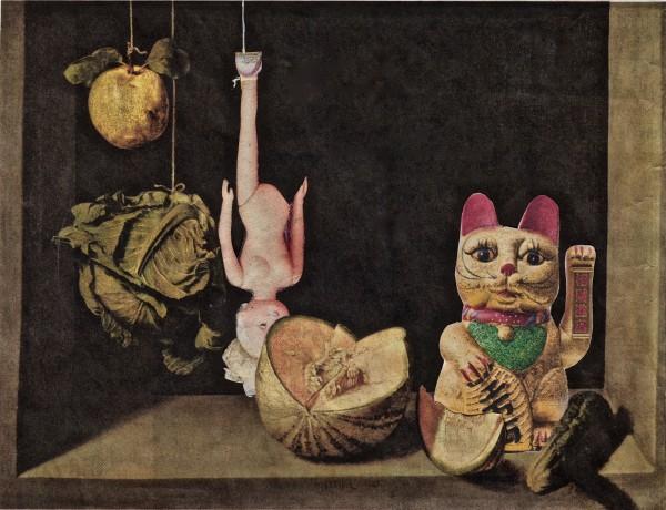 Kerstin Himmler: Quitte, Kohl und Winkekatze, Collage, © Bunsen Goetz Galerie.