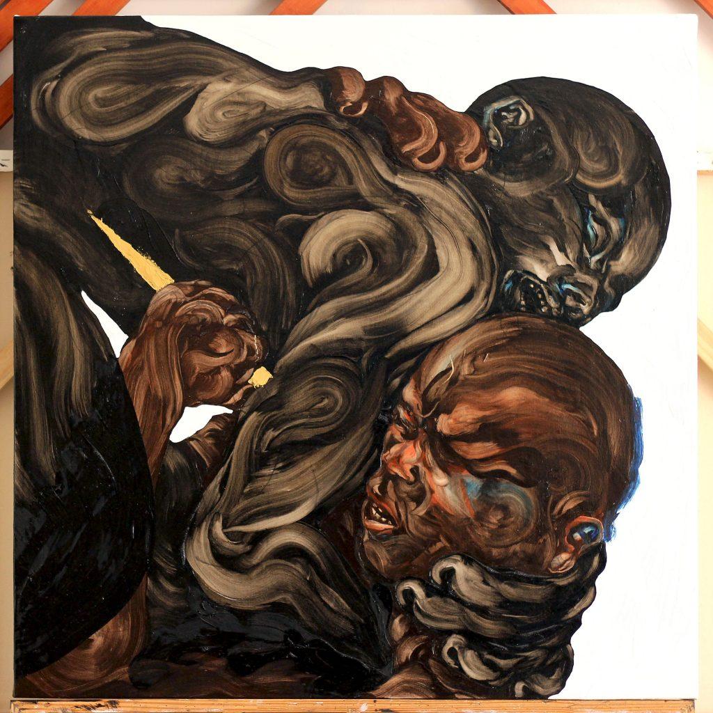 Rafael Hayashi: Erro, 100 x 100 cm, Öl auf Leinwand, 2016 © Rafael Hayashi