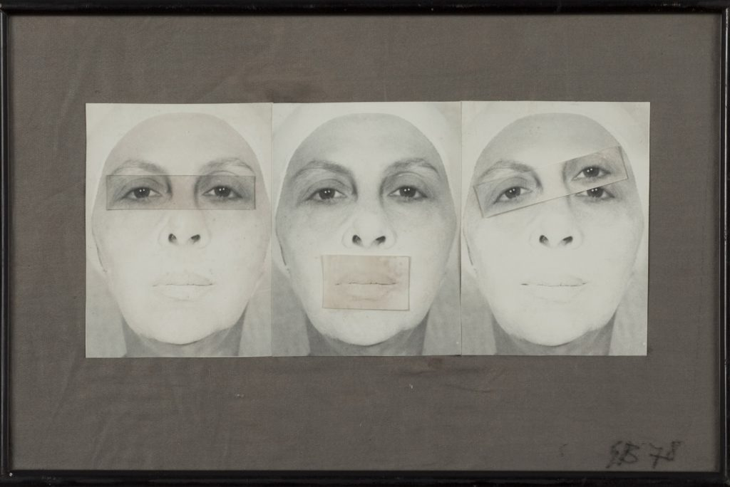Geta Brătescu: Autoportret cenzurat [Zensiertes Selbstporträt], 1978, Collage auf Papier, 31 x 20,5 cm, Kontakt. The Art Collection of Erste Group and ERSTE Foundation, Foto: Ștefan Sava.
