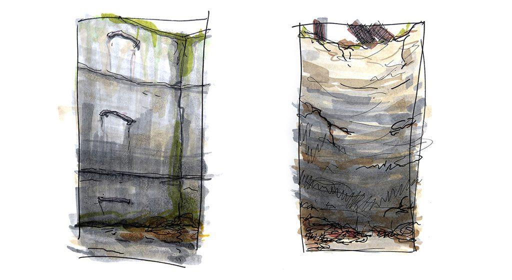 Oliver Boberg: Schacht-Zeichnungen, 2015, Copic-Marker auf Papier, Höhe ca. 20cm