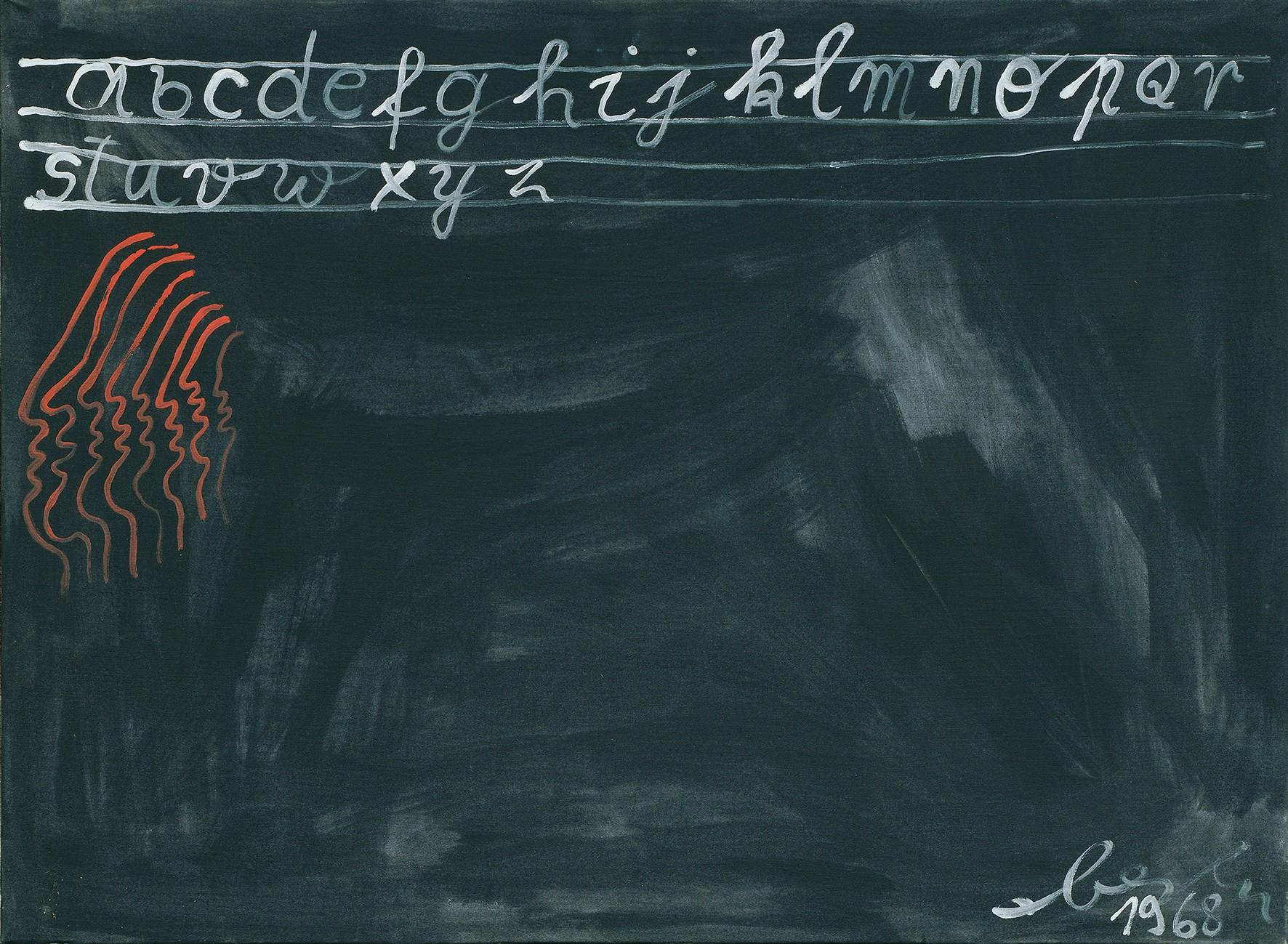 Oswald Oberhuber, ABC, 1968, Schenkung des Künstlers © Belvedere, Wien, Öl auf Leinwand 73 x 98 x 3,5 cm.