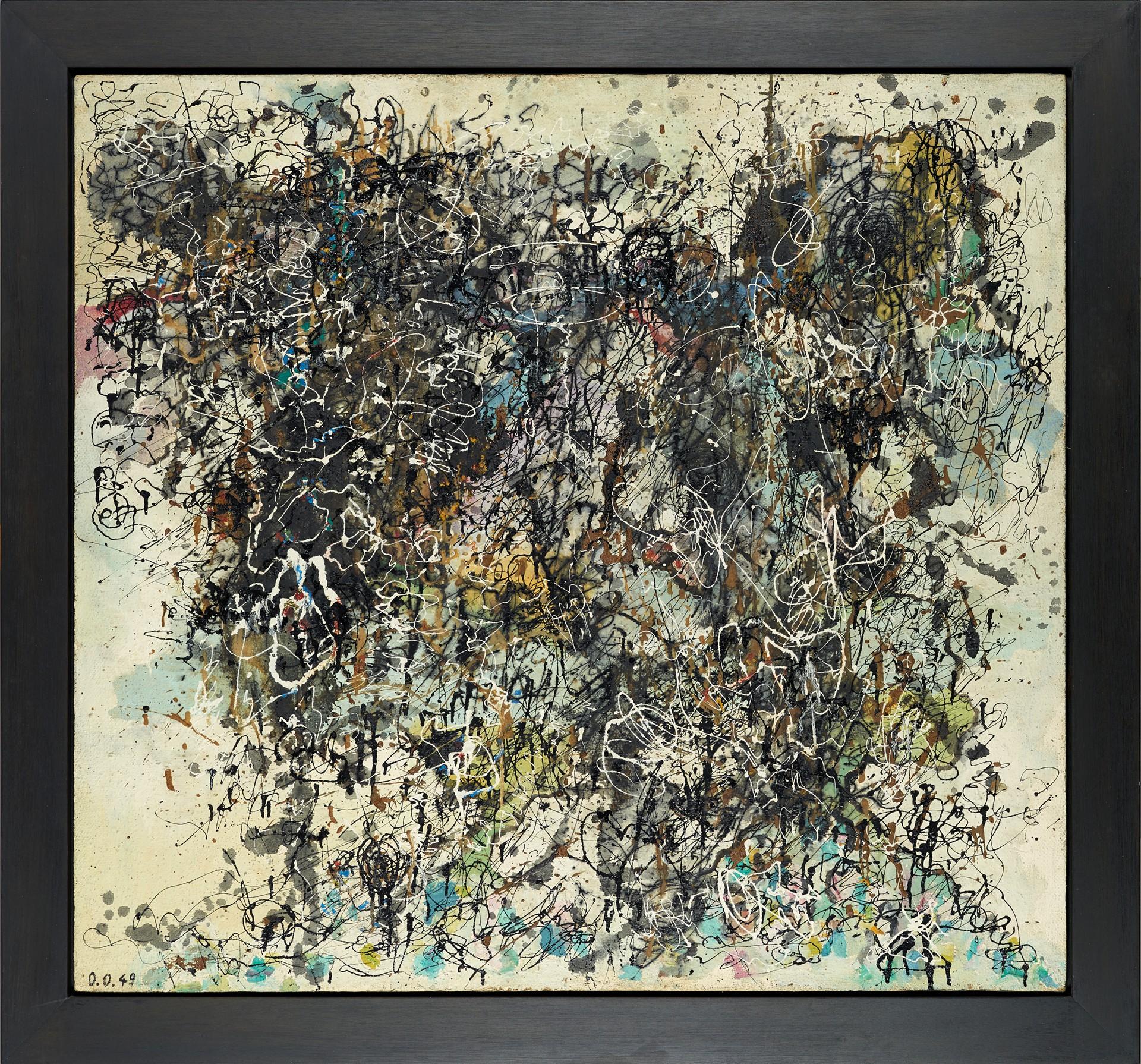 Oswald Oberhuber, Zerstörte Formen, 1949 Privatbesitz, Foto: © Belvedere, Wien, Leimfarbe, Öl und Lack auf Jute auf Holzfaserplatte 119 × 128,6 cm