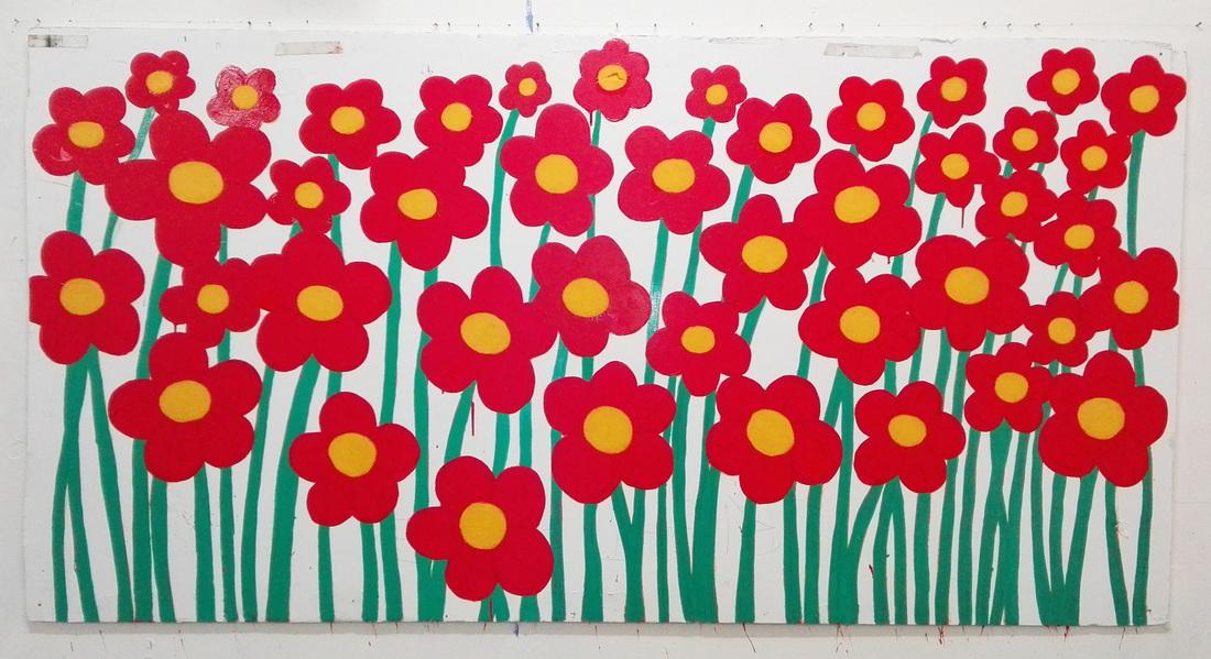 Gert Resinger, Blumen Sind Nice, Öl und Acryl auf Leinwand, 2014. © Gert Resinger.
