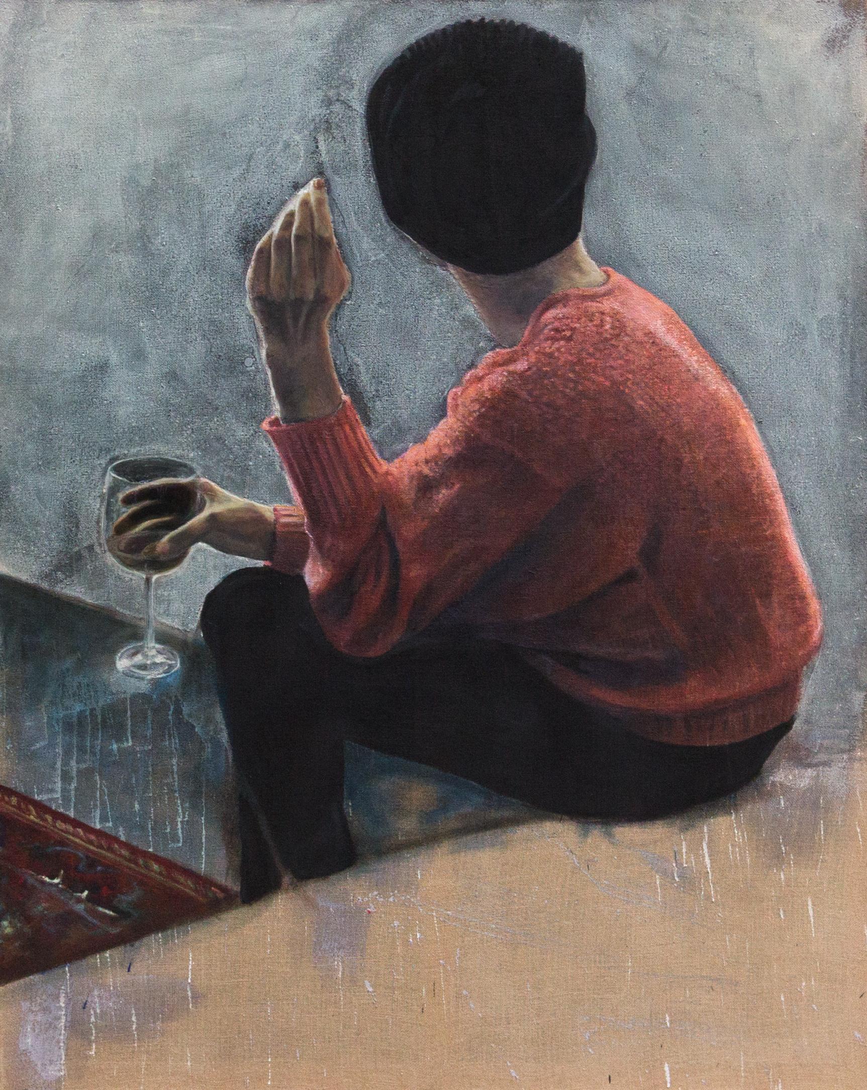 Thomas Schrenk, Mädchen von hinten, Öl und Wachs auf Jute, 120 x 150 cm. © Thomas Schrenk.