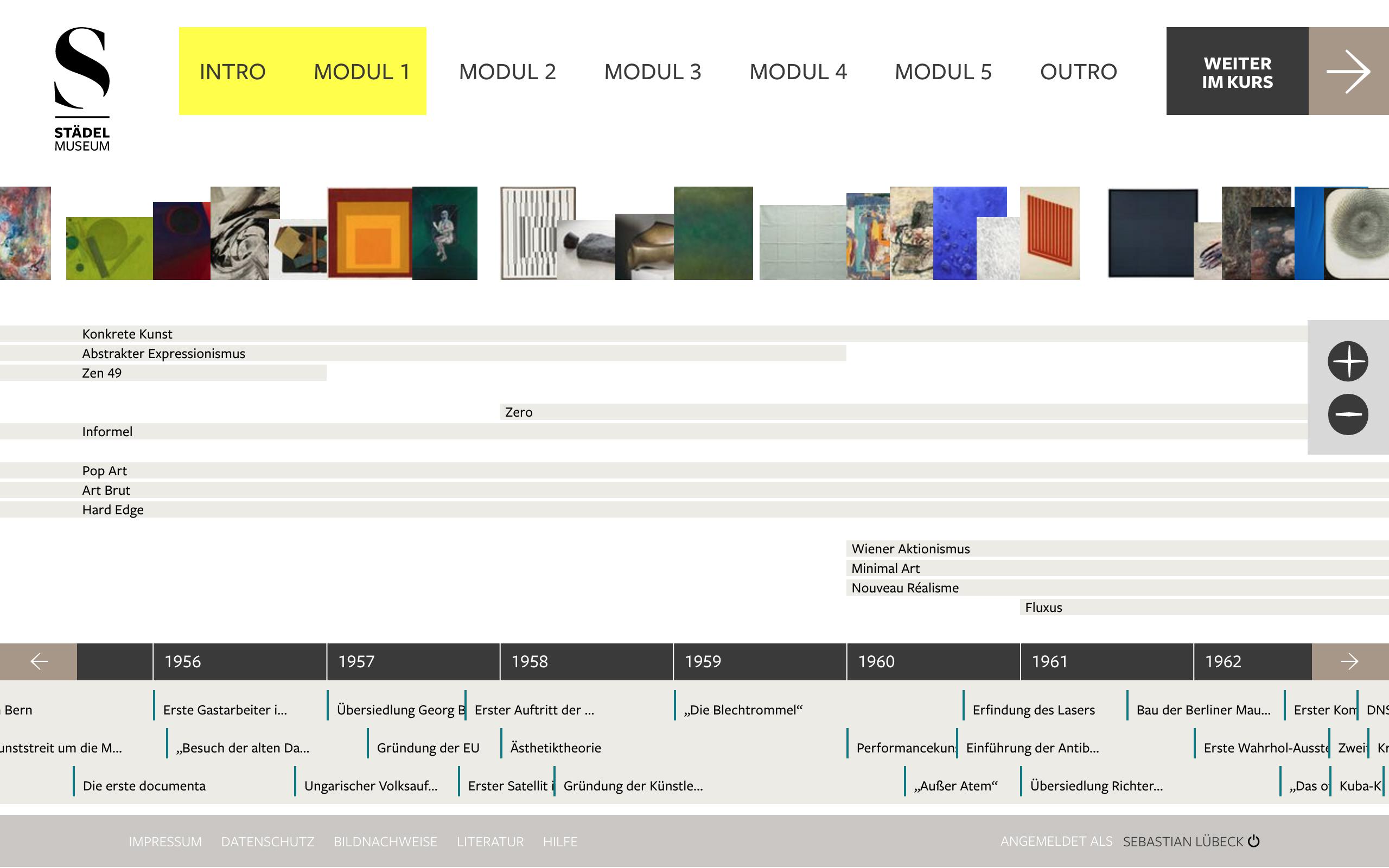 Zeitstrahl im Onlinekurs, Foto: Städel Museum
