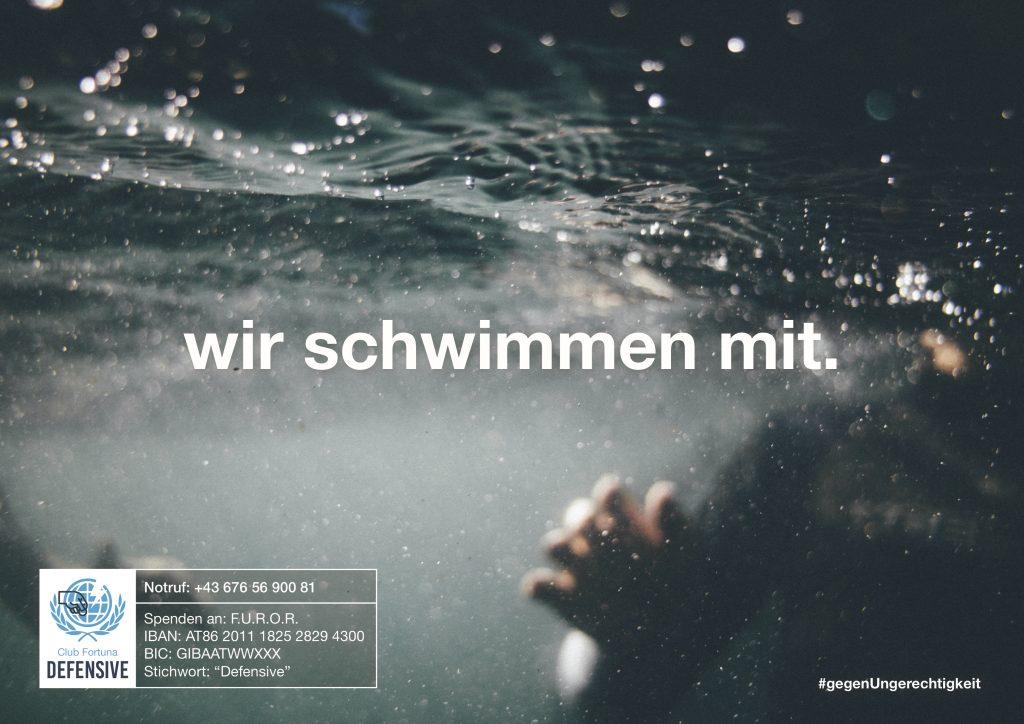 © Club Fortuna, Plakataktion, Defensive, Wir schwimmen mit, 2016.