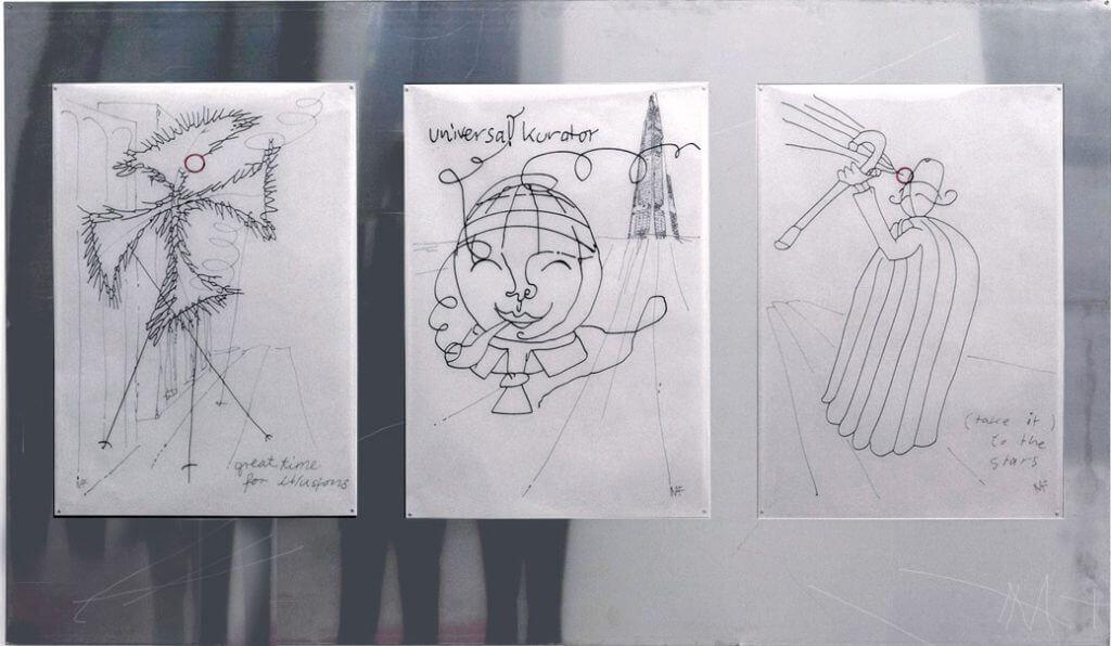 NA&NE, Hybris Triptych, 250x125cm, c-drawings on steelplate, 2013, Foto: NA&NE.