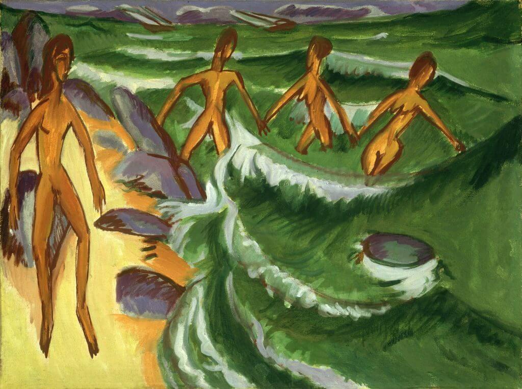 """Gemälde / Öl auf Leinwand (1913) von   Ernst Ludwig Kirchner [1880 - 1938]   Bildmaß 76 x 100 cm  Inventar-Nr.: B 133  Person: Ernst Ludwig Kirchner [6.5.1880 - 15.6.1938], Deutscher Grafiker und Maler des Expressionismus, Gründungsmitglied der Künstlergruppe """"Die Brücke""""  Systematik:   Personen / Künstler / Kirchner, Ernst Ludwig / Werke"""