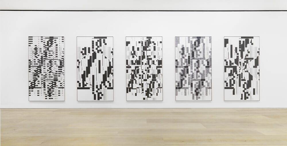 "Michael Riedel, Installation view, ""Laws of Form"", David Zwirner, London, 2014."