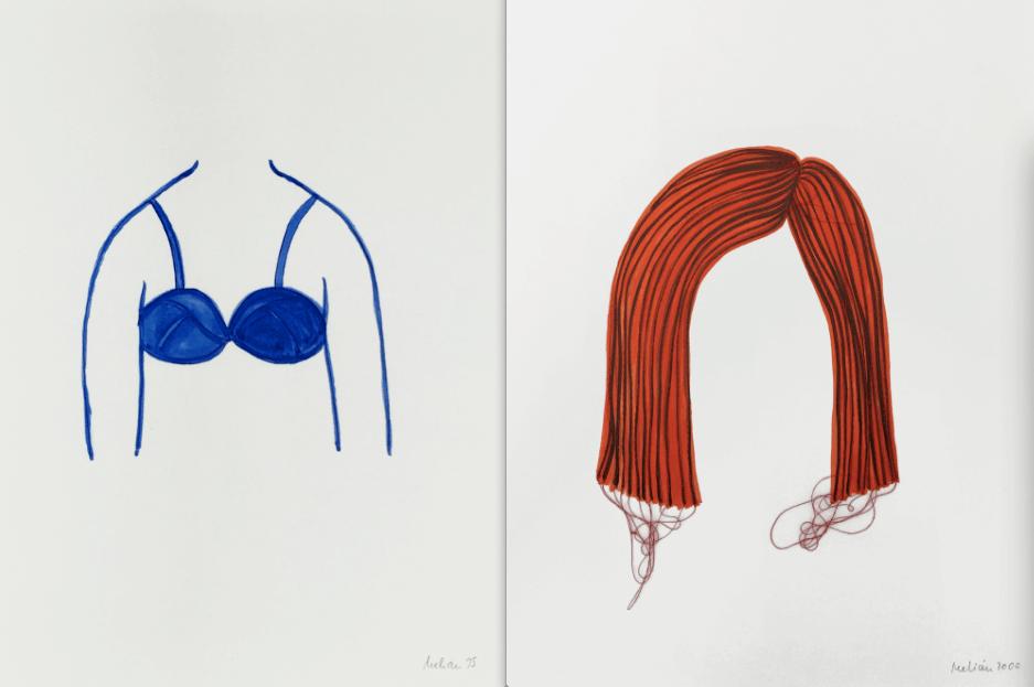 "Michaela Melián: ""Tomboy"", 1995, Tusche auf Papier, 39 x 29 cm (l.), ""Tomboy"", 2000, Genähte Zeichnung, Tusche, Faden, Papier, 39 x 29 cm. © Barbara Gross.."