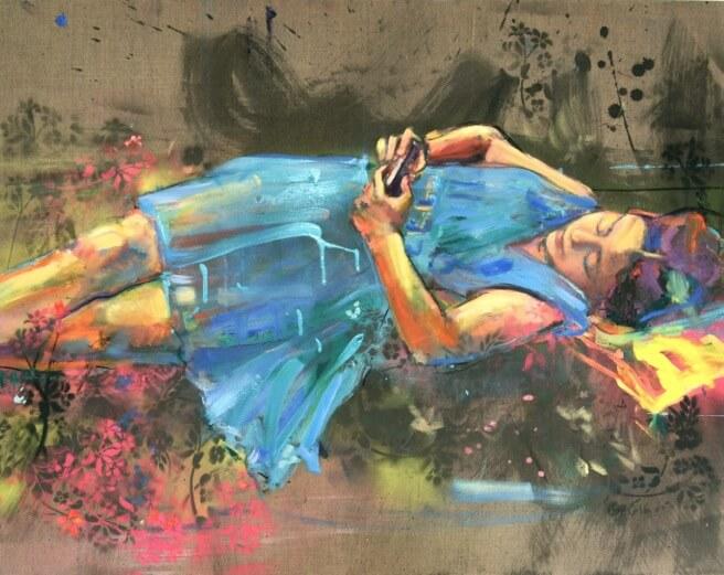 Catherine Bourdon, Jeune fille aux fleurs, 2016, Mixed media/Leinwand, 80 x 100 cm