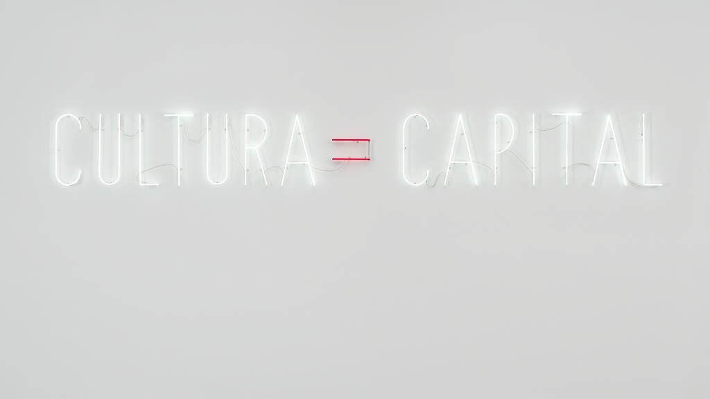 "Alfredo Jaar, ""Cultura = Capital"", Courtesy Sexauer Gallery."