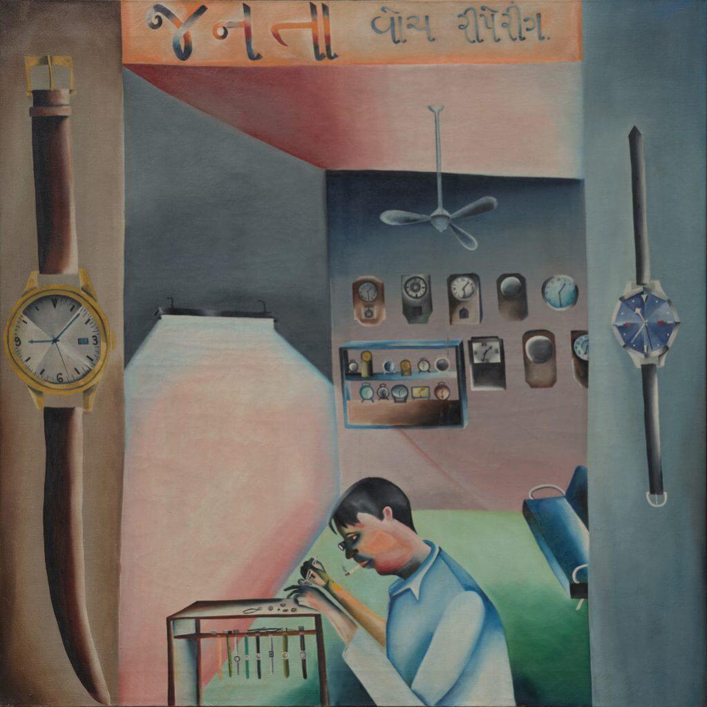 Bhupen Khakhar, Janata Watch Repairing, 1972, © Estate of Bhupen Khakhar.