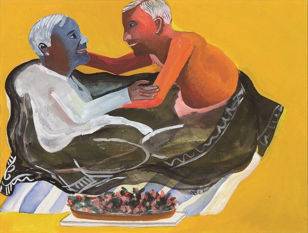 Bhupen Khakhar, Grey Blanket, 1998, © Estate of Bhupen Khakhar.