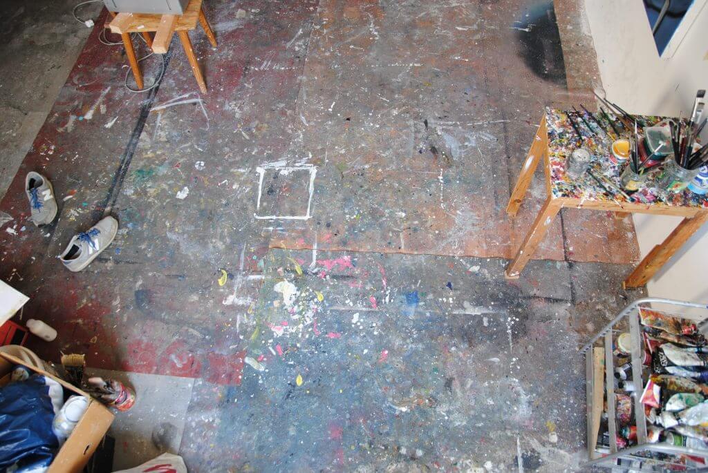 """Atelieraufnahme, """"Nachts allein im Atelier III"""", Galerie Evelyn Drewes"""