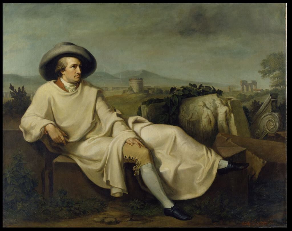 12_Goethe.jpg Karl Bennert Goethe in der Campagna (Kopie nach J.H.W. Tisch-bein), um 1849  Öl auf Leinwand, 167,5 x 211,2 cm Freies Deutsches Hochstift / Frankfurter Goethe-Museum © David Hall - ARTOTHEK
