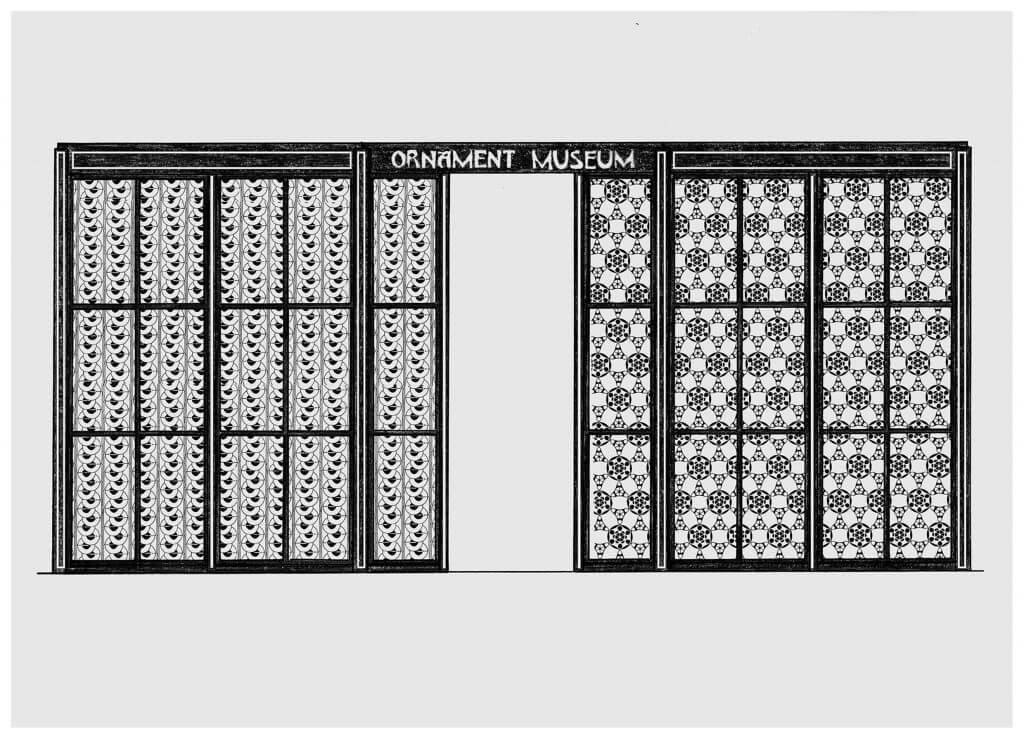 Josiah McElheny in Zusammenarbeit mit John Vinci, The Ornament Museum, Entwurf, 2014.