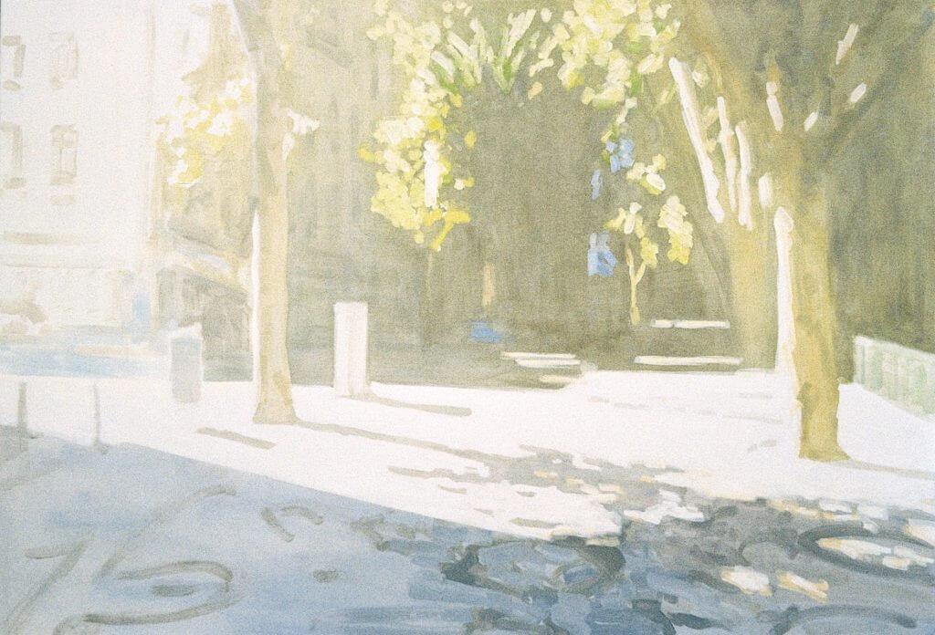 "Moritz Hasse: ""Lissabon, Avenida da Liberdade"", 2016, Öl auf Leinwand, 100x145 cm"