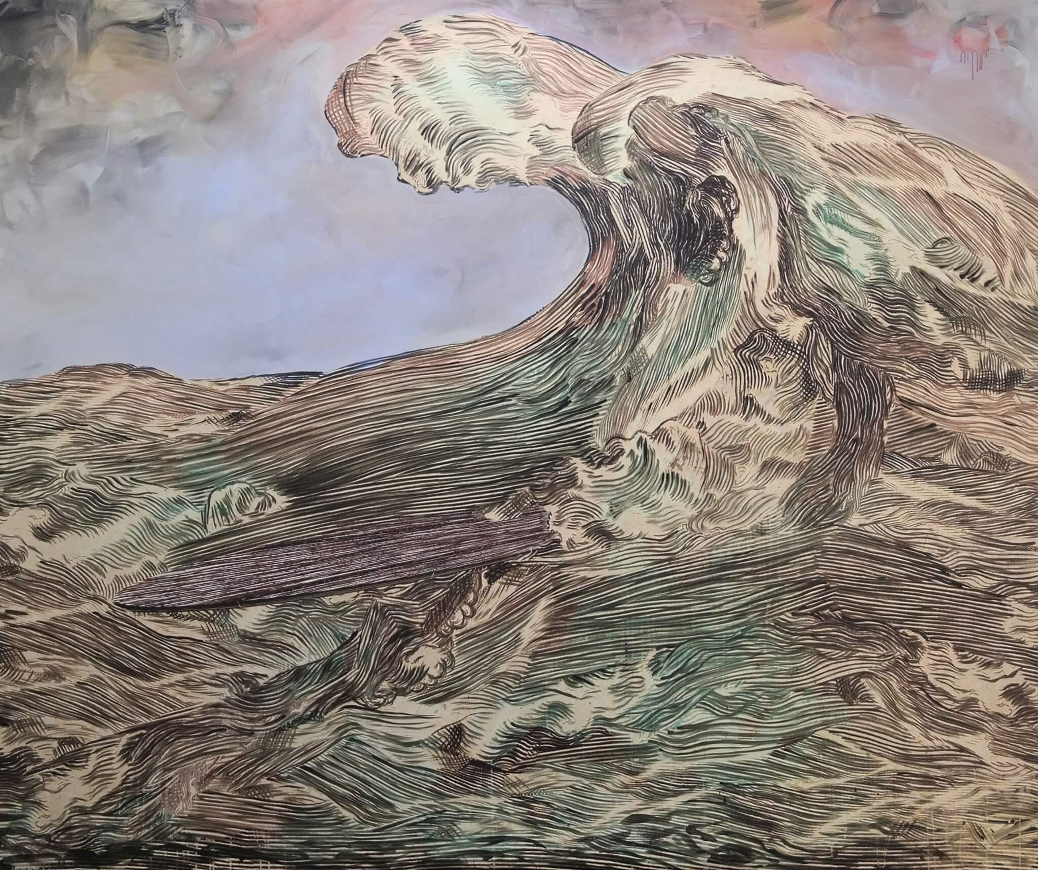 Hans Weigand, Ghostsurfer, 2014 Courtesy der Künstler und Gabriele Senn Galerie, Wien © Hans Weigand Acryl auf Leinwand.