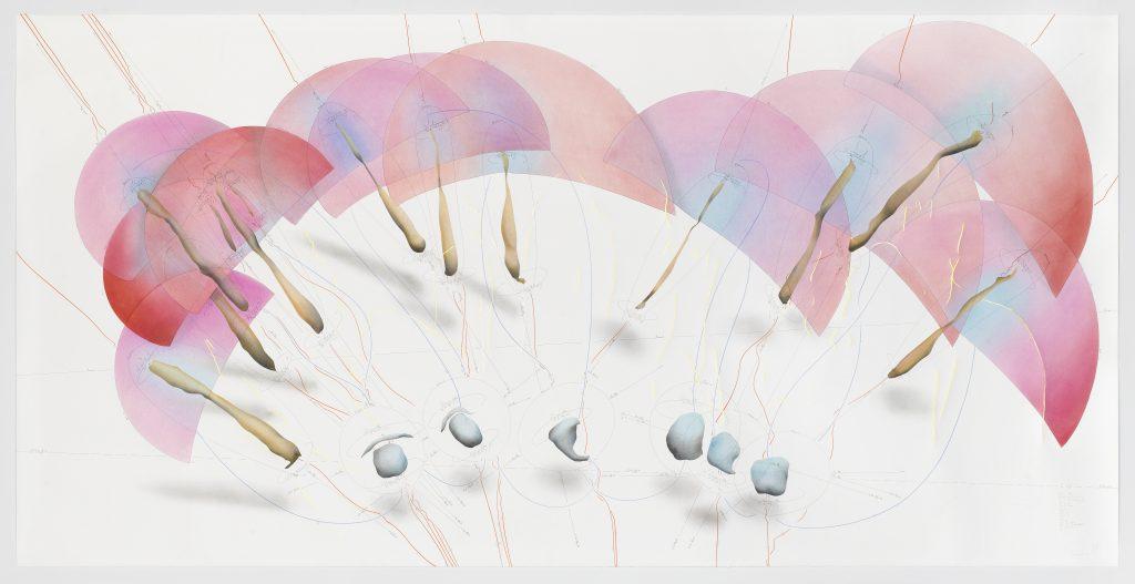 "Jorinde Voigt: ""The Shift"", 2016. Tinte, Blattgold, Ölkreide, Pastell, Bleistift auf Papier/ink, gold-foil, oil crayon, pastel, pencil on paper, 140 x 280 cm, Courtesy Jorinde Voigt, © VG Bild Kunst Bonn, 2017"