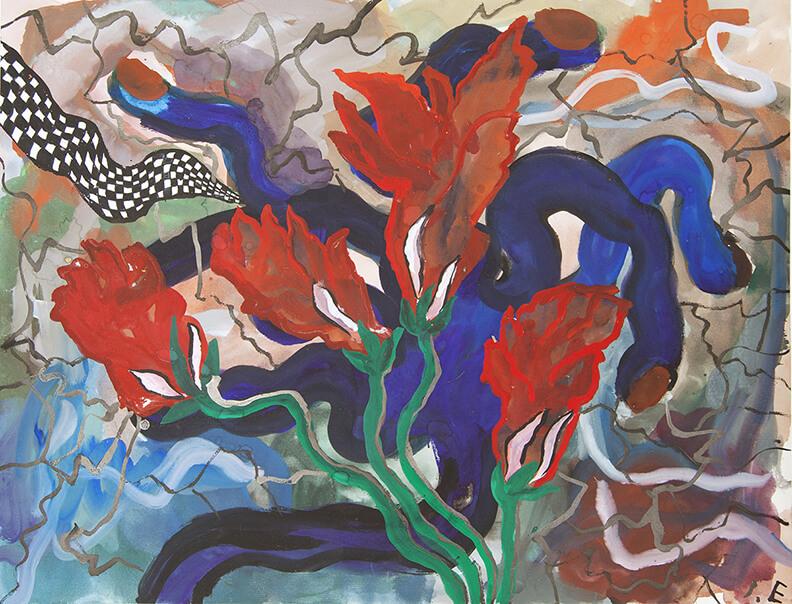 Ida Ekblad: Untitled, 2011, Aquarell auf Papier, 49,8 x 64,1 cm, Courtesy die Künstlerin und Greene Naftali, New York, ©VG Bild-Kunst, Bonn 2017