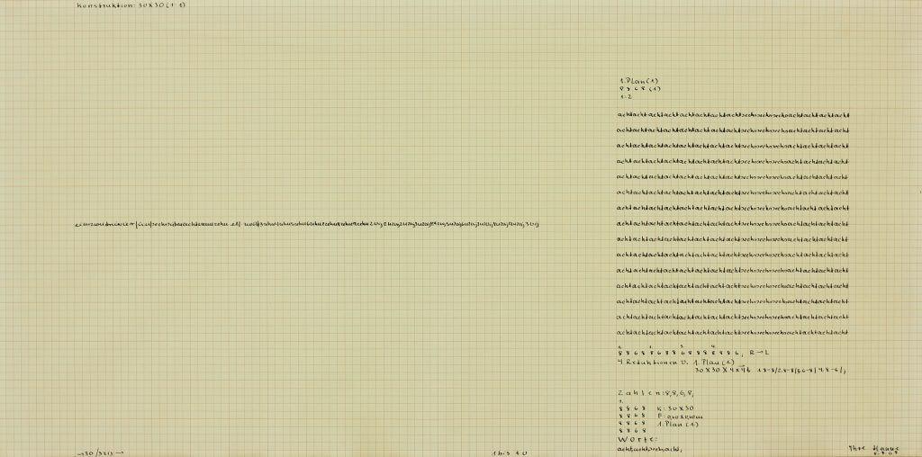 Hanne Darboven: o.T. (Plan 8.8.86, 1:2, 1968), 1 Blatt (gerahmt), schwarze Tinte auf rotem Kästchenpapier, 59,5 x 119,5 cm © Hanne Darboven Stiftung, Hamburg / VG Bild-Kunst, Bonn 2016