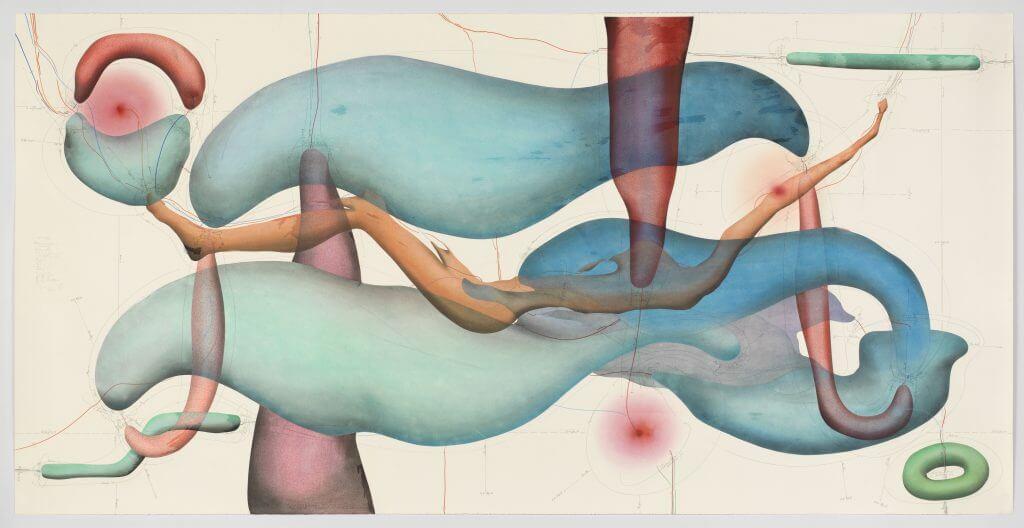 """Jorinde Voigt, """"10 am to 7 pm"""", 2016,Tinte, Ölkreide, Pastell, Bleistift auf Papier, 140 x 280 cm, Leihgabe Carlotta Testori, © VG Bild Kunst Bonn, 2017"""