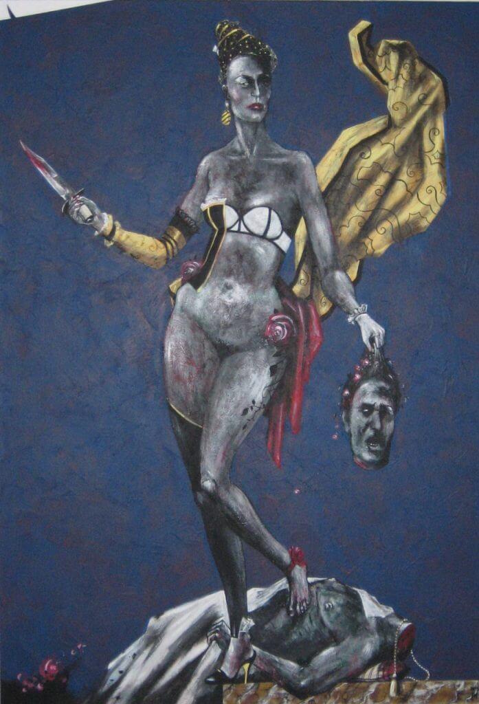 """Manfred Hürlimann,  """"Judith mit dem Haupt des Holofernes"""", 2015, 210 x 145 cm"""