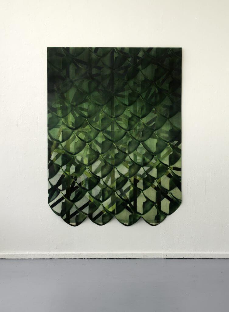 Jasmin Schmidt: Boomslang, 196x147 cm, Öl auf Nessel auf Papier, 2016. Courtesy Galerie Sturm