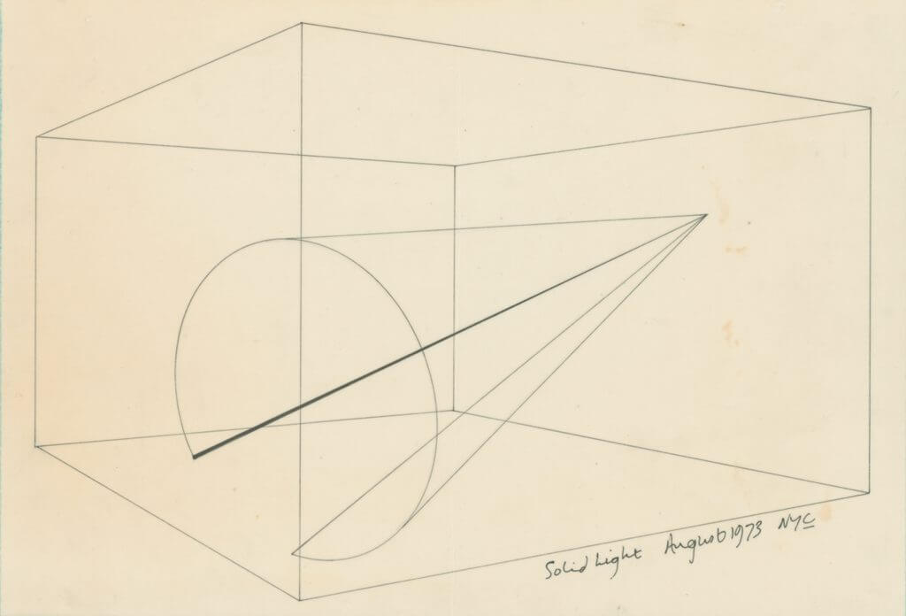 Anthony McCall. _Line Describing a Cone_ (1973). Installation drawing, Courtesy of KW Institute for Contemporary Art.