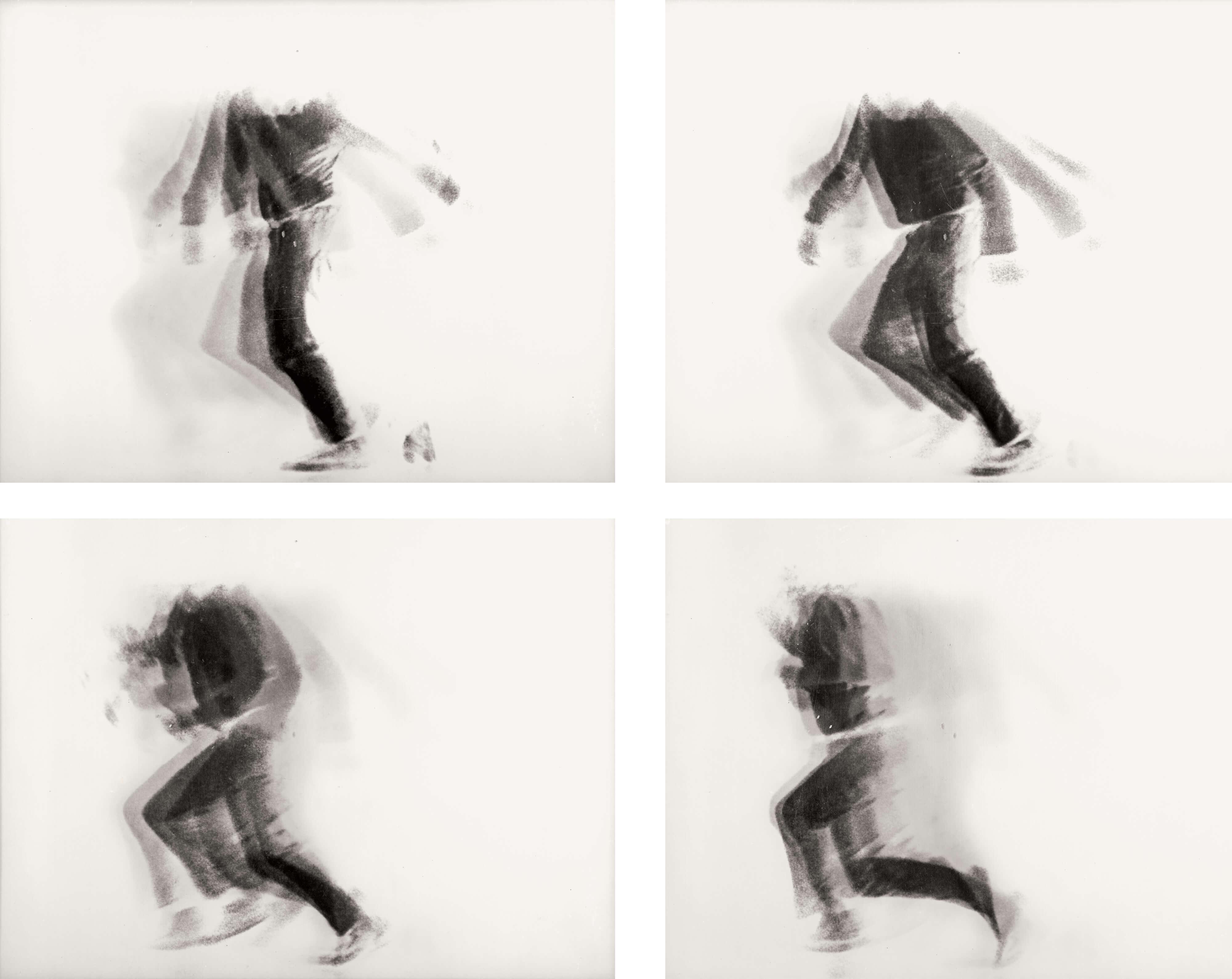 Alfons Schilling The Falling Man, 1969 Linsenrasterfotografie, 4 Ansichten © Nachlass Alfons Schilling.