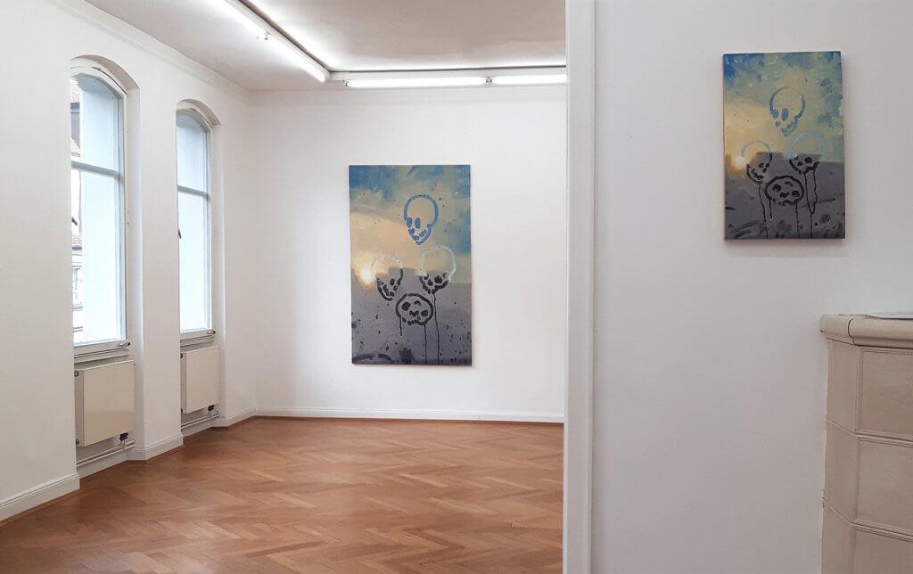 """Ausstellungsansicht: Markus Willeke, """"PoolBlindCrash"""", Galerie Sima"""