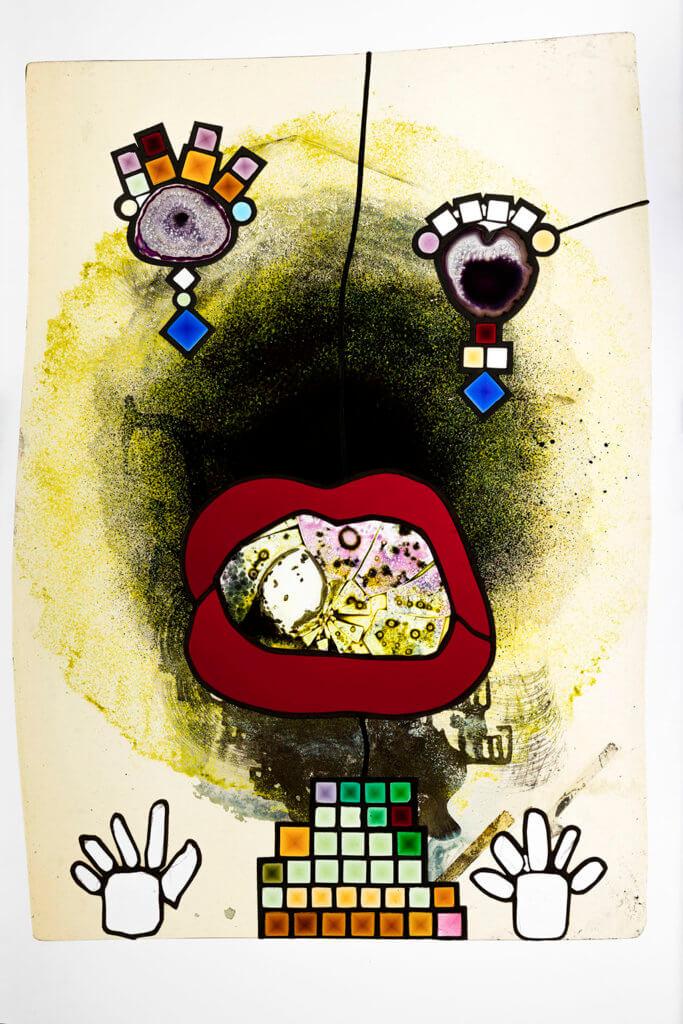 """Kerstin Brätsch: Holo Mai Pele, Is It You or Perhaps You? (Mund der Wahrheit), 2012-2016, """"All Ready Maid Betwixt and Between""""-Serie, Courtesy die Künstlerin und Gió Marconi, Mailand © Kerstin Brätsch."""