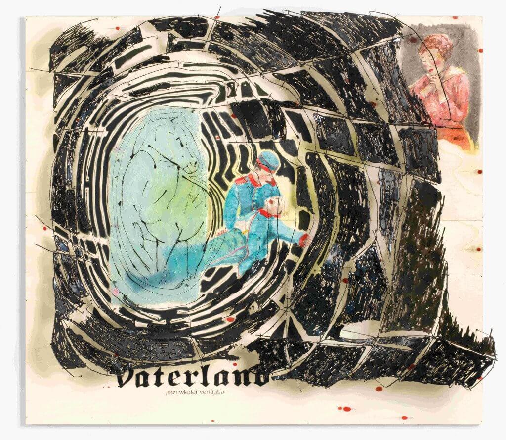 Birgit Brenner, Vaterland, 2016  Pappelsperrholz, Tusche, Schweißdraht, Eisendraht, Polymerwachs, Heißkleber 195 x 220 x 47 cm  Courtesy EIGEN + ART Leipzig/Berlin; © VG Bildkunst© VG Bildkunst, Bonn; Fotograf: Roman März