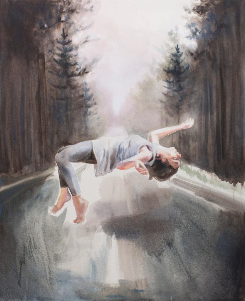 """Kathrin Hausel: """"Los caidos"""", 2016, Öl auf Leinwand, 110x90 cm"""