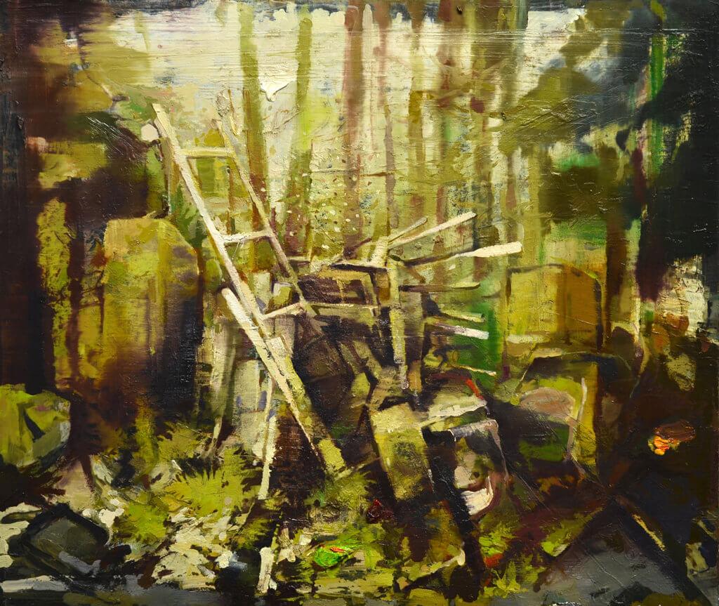 """Kai Klahre: """"Wenzelkrone"""", 2016, Öl auf Aluminium, 42x60cm"""