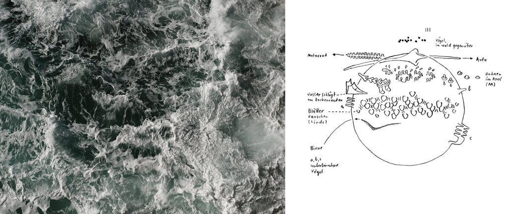 """Links: Olaf Unverzart: """"Ocean #02 (Nazare, Portugal)"""", 2017, 40 x 54 cm, Archival Pigment Print. Rechts: Andreas Töpfer: """"MUC Soundscape # 1"""", Zeichnung auf Papier"""