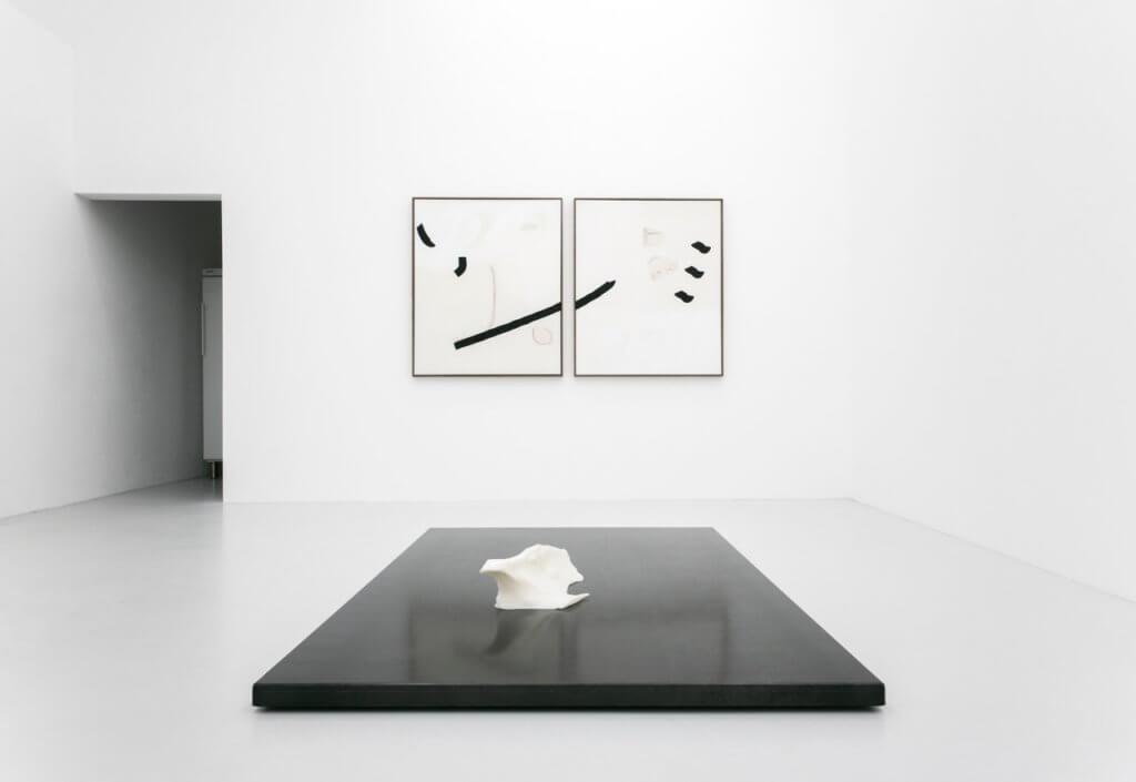 Malte Zenses, unrasiert, 2017 / les, nah, rac, 2017. Installationsansicht Felix Kultau und Malte Zenses – Pay for Rituals, fiebach, minninger, Köln, 2017.