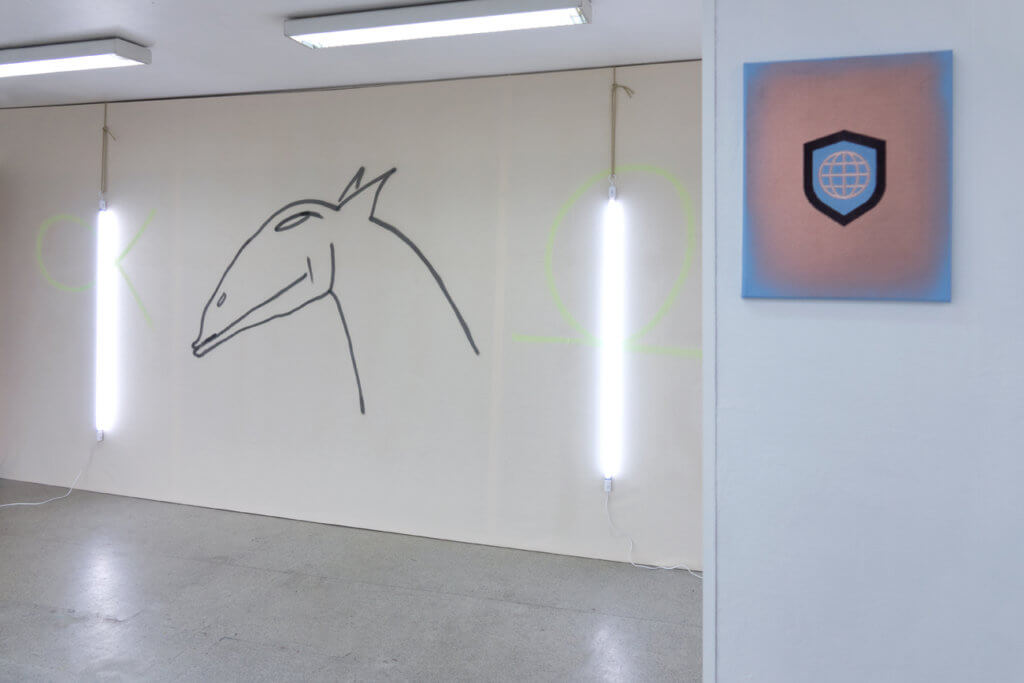 Niko Abramidis &NE: Delta Horse, spray paint, neon lights, rope, canvas Global Shield, 2018, spray paint, embroidery, canvas