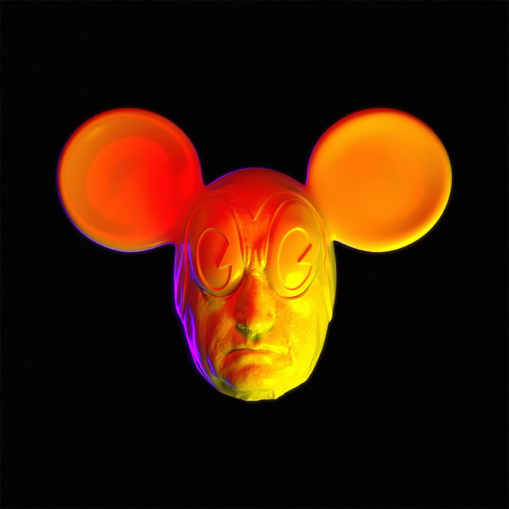 3D Animation einer Totenmaske von Johann Wolfgang von Goethe und Mickey Mouse, Digitale Skulptur von Hedi Xandt