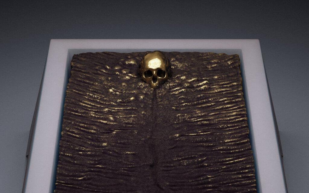 Hedi Xandt, A King's Bed 2500 x 1400 x 1200 mm Bronzeguss auf menschlichen Überresten, in Marmor eingebettet Konzeptentwurf für ein Grabmal, 2015