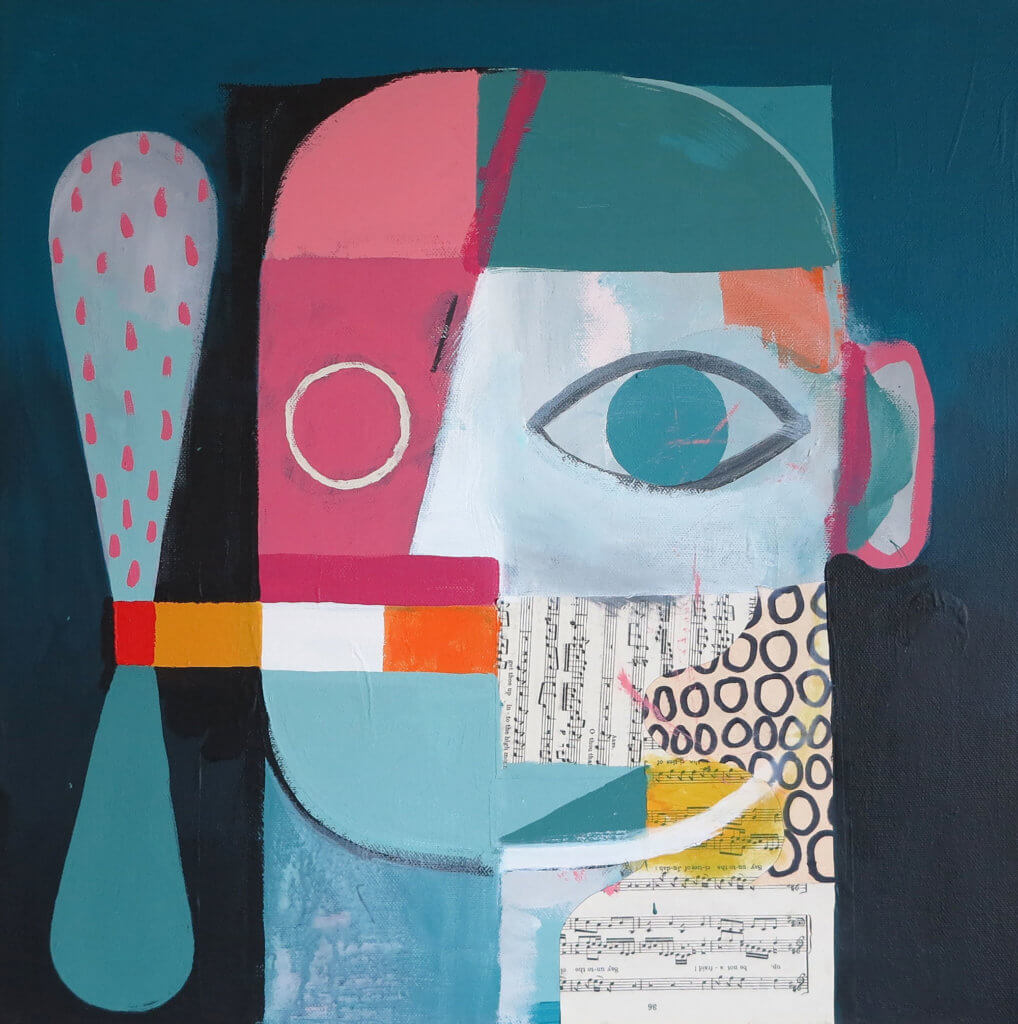 David Shillinglaw: hejustsmokedmyeyelidsandpunchedmycigarette, Acryl auf Leinwand, 40 x 40 cm