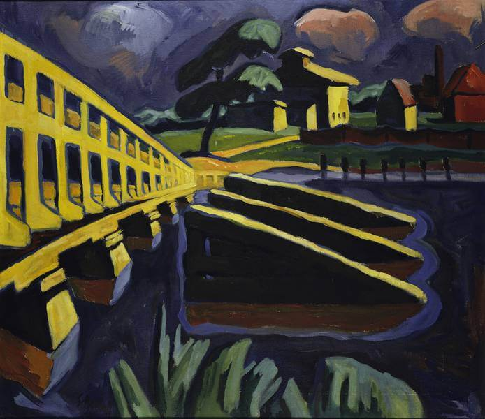 Karl Schmidt-Rottluff (1884-1976): Brücke mit Eisbrechern, 1934, Brücke-Museum Berlin, © VG Bild-Kunst, Bonn 2018