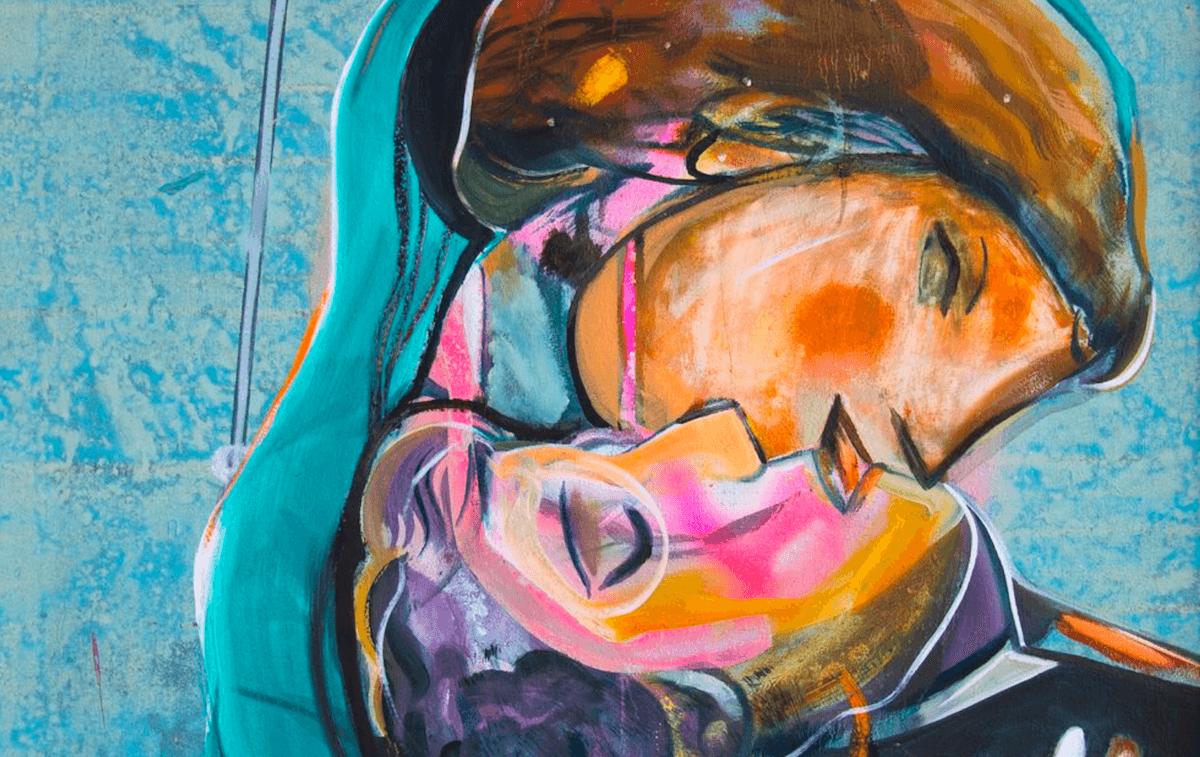 Ekkehard Tischendorf: Das Duett / 2018, 82 x 82 cm, Öl und Acryl auf Leinwand